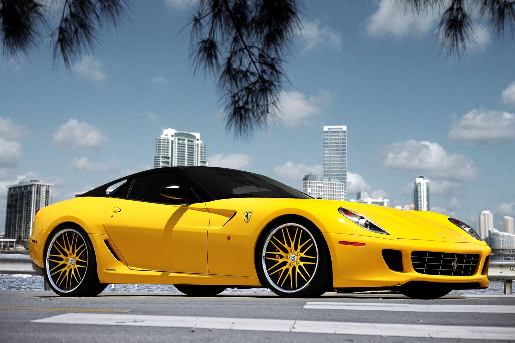 Hot Yellow & Black Ferrari Ferrari 599, Ferrari, Luxury cars