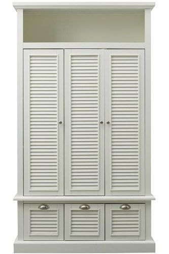 White Bedroom Furniture Shutter Locker Cabinet Storage Armoire Closet  Organizer #HoneDecoratorsCollection