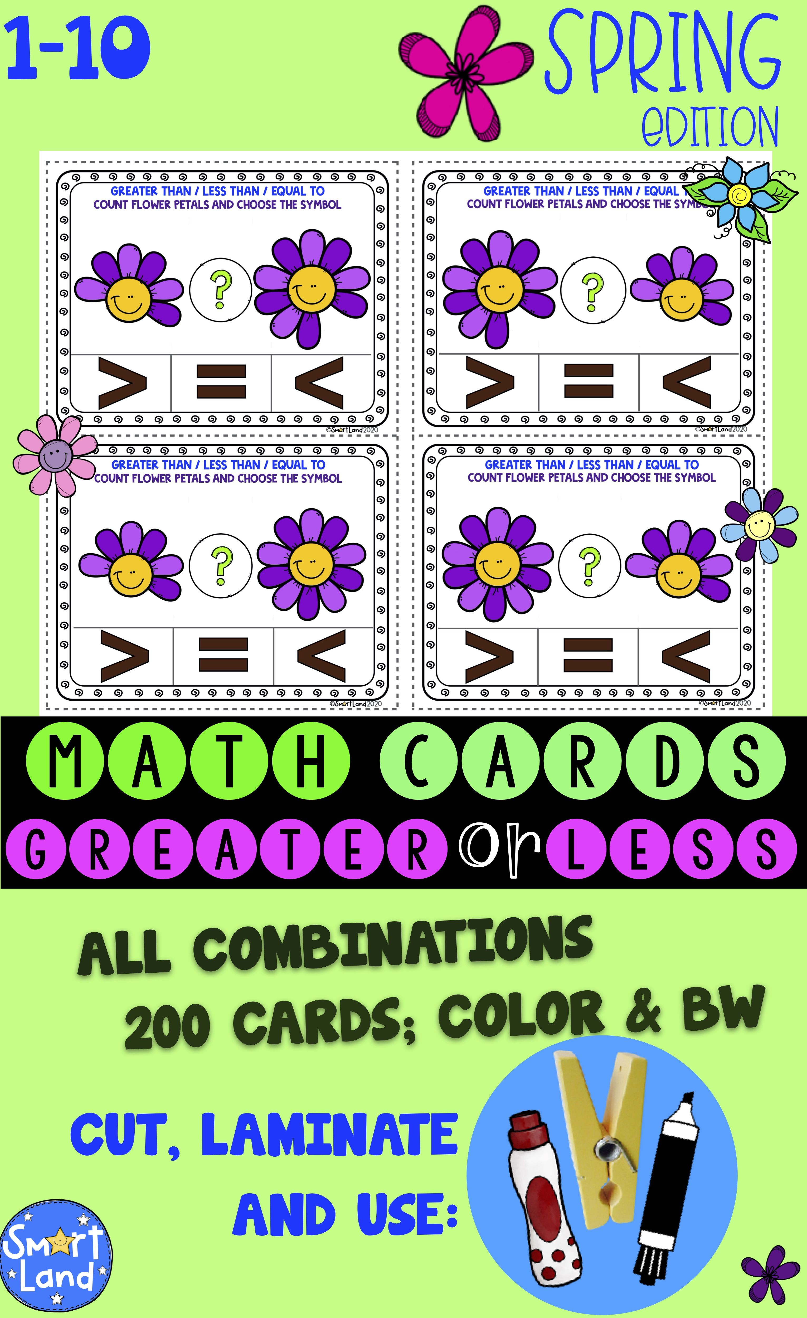 Math Cards Greater Less Flowers Spring