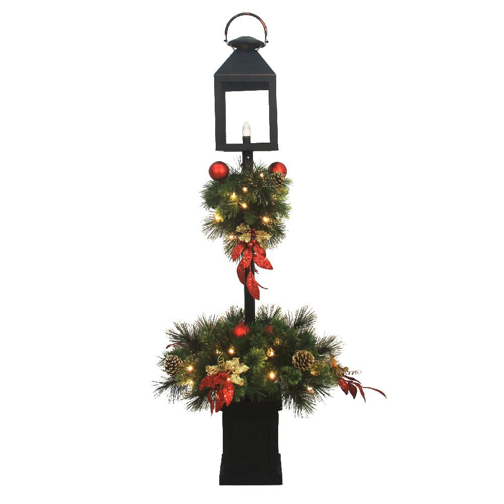 home accents holiday 4 ft pre lit artificial christmas lantern porch tree with 50 - Artificial Christmas Trees Home Depot