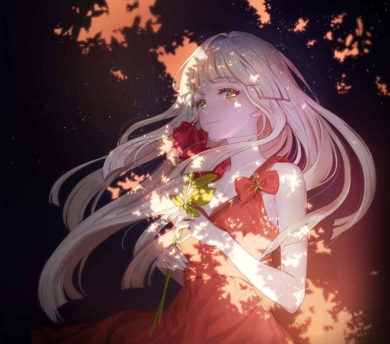 Red Rose Animegirl Cute Rose Anime Art Girl Anime Artwork Anime