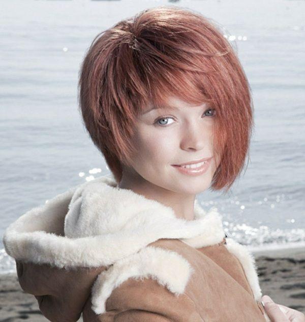 Rote Haaren Mit Pony Asymmetrisch Gestylt Bobs Pinterest