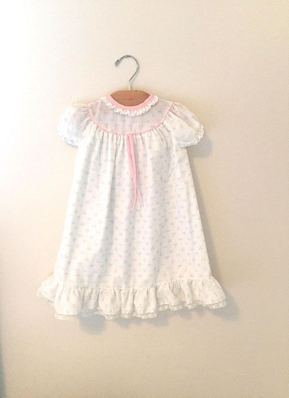 Vintage 70\'s White Rosebud Baby Nightgown, Baby Girl\'s Nightgown ...