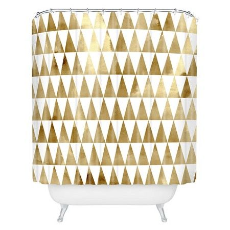 Shower Curtain - Georgiana Paraschiv Triangle Pattern Gold - DENY Designs : Target