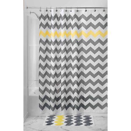 Interdesign Chevron Fabric Shower Curtain Standard 72 X 72 Gray Yellow Walmart Com In 2020 Yellow Shower Curtains Fabric Shower Curtains Chevron Shower Curtain