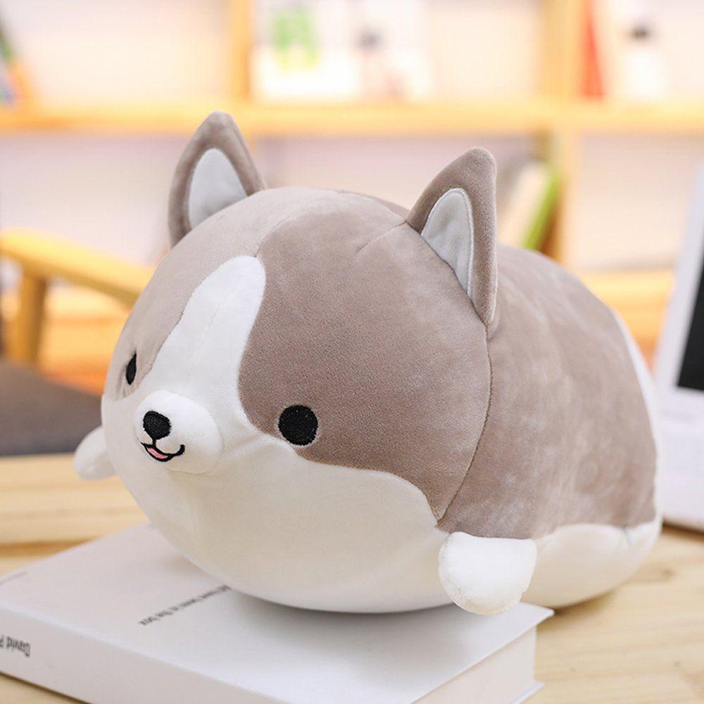 Levenkeness Corgi Dog Plush Pillow Soft Cute Shiba Inu Akita Stuffed Animals Toy Gifts Gray 11 8 In Discover Puppy Pillows Corgi Plush Cute Stuffed Animals