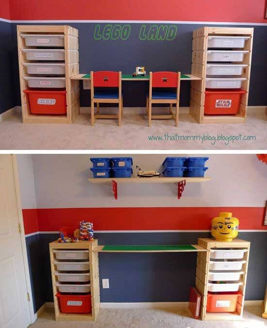 IKEA HACKS - Adjustable height Lego playtable and storage unit from Trofast  - CORTNEY, what do you think about this for lego storage if Dexter gets  into ...