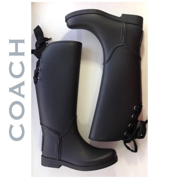 "NEW COACH fur fleece lined rain boots black 7 M Laces at the back help make this an easier fit. Great pair of rain boots.  1"" heel  15 1/2"" boot shaft; 15"" calf circumference.  Partial lace-up closure.  Synthetic upper/textile and synthetic lining/rubber sole.  Boots will ship only in their original box due to size. Please check my closet for new high end and designer shoes and booties in all sizes! Coach Shoes Winter & Rain Boots"