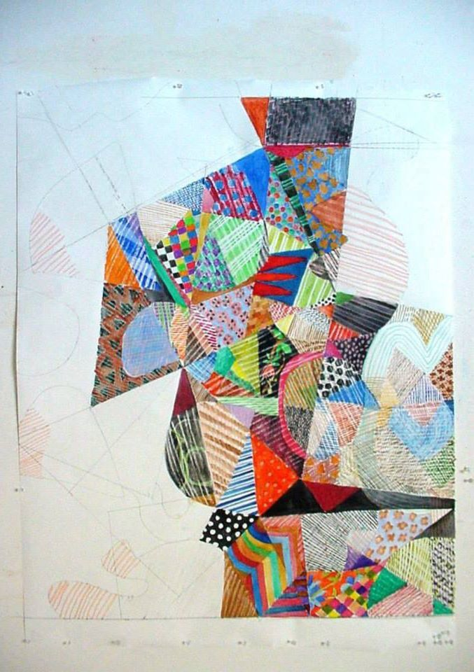 """Quilt Drawing"" watercolor, crayon, pencil and gouache on paper. about 60 x 48 inches. In progress"