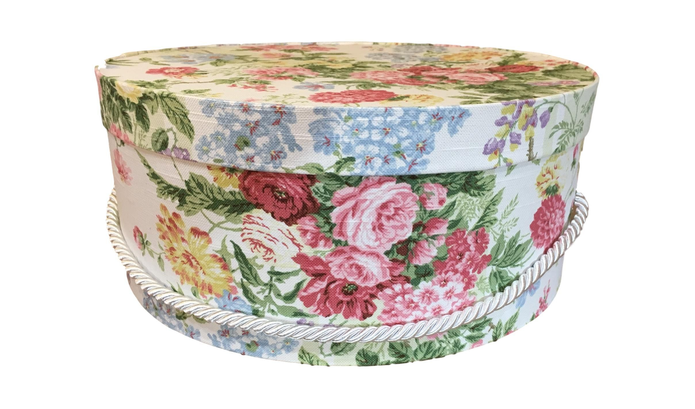 Large Hat Box In Spring Floral Colors Large Decorative Fabric Covered Hat Boxes Round Storage Box Keepsake Boxes With Lid Hat Box Floral Fabric Fabric Decor