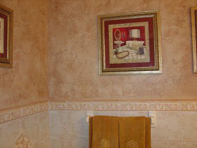 old world textured finish on bathroom walls