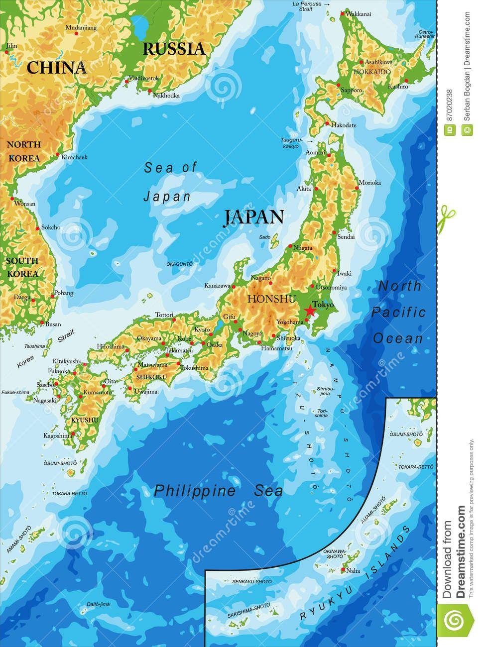 Il Giappone Cartina Fisica.Pin Su Giappone