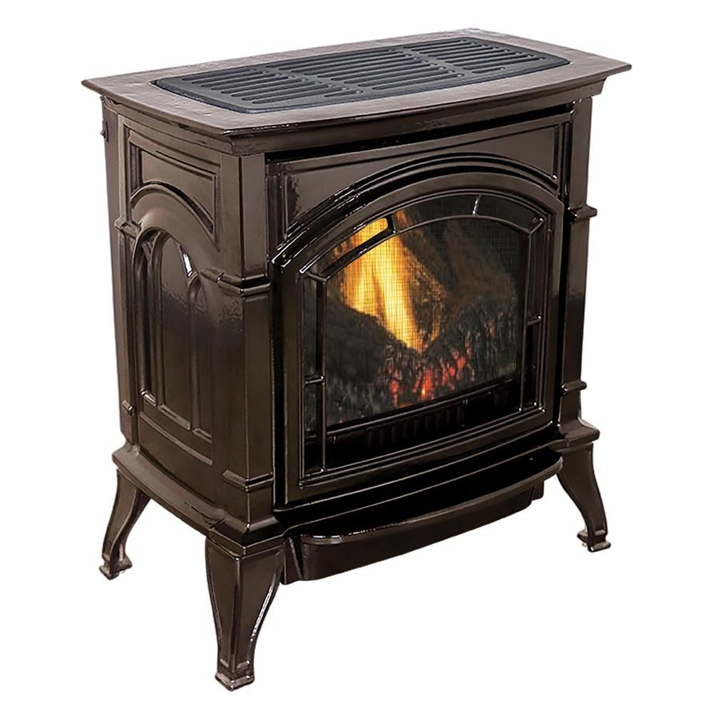Ashley Hearth Products 31 000 Btu Vent Free Natural Gas Stove Mahogany Enameled Porcelain Cast Iron Agc500vfmn The Home Depot Propane Gas Stove Gas Stove Fireplace Natural Gas Stove