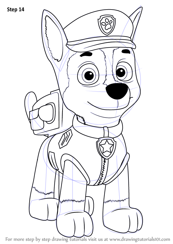 how-to-draw-Chase-from-PAW-Patrol-step-14.png (598×844) | Clever c ...