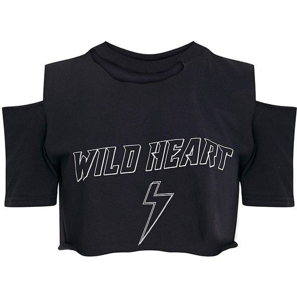 Wild Heart Black Ripped Crop T Shirt 40 Liked On Polyvore Featuring Tops T Shirts Destroyed Tee Ripped Tee Cr Destroyed T Shirt Ripped Tee T Shirt Png
