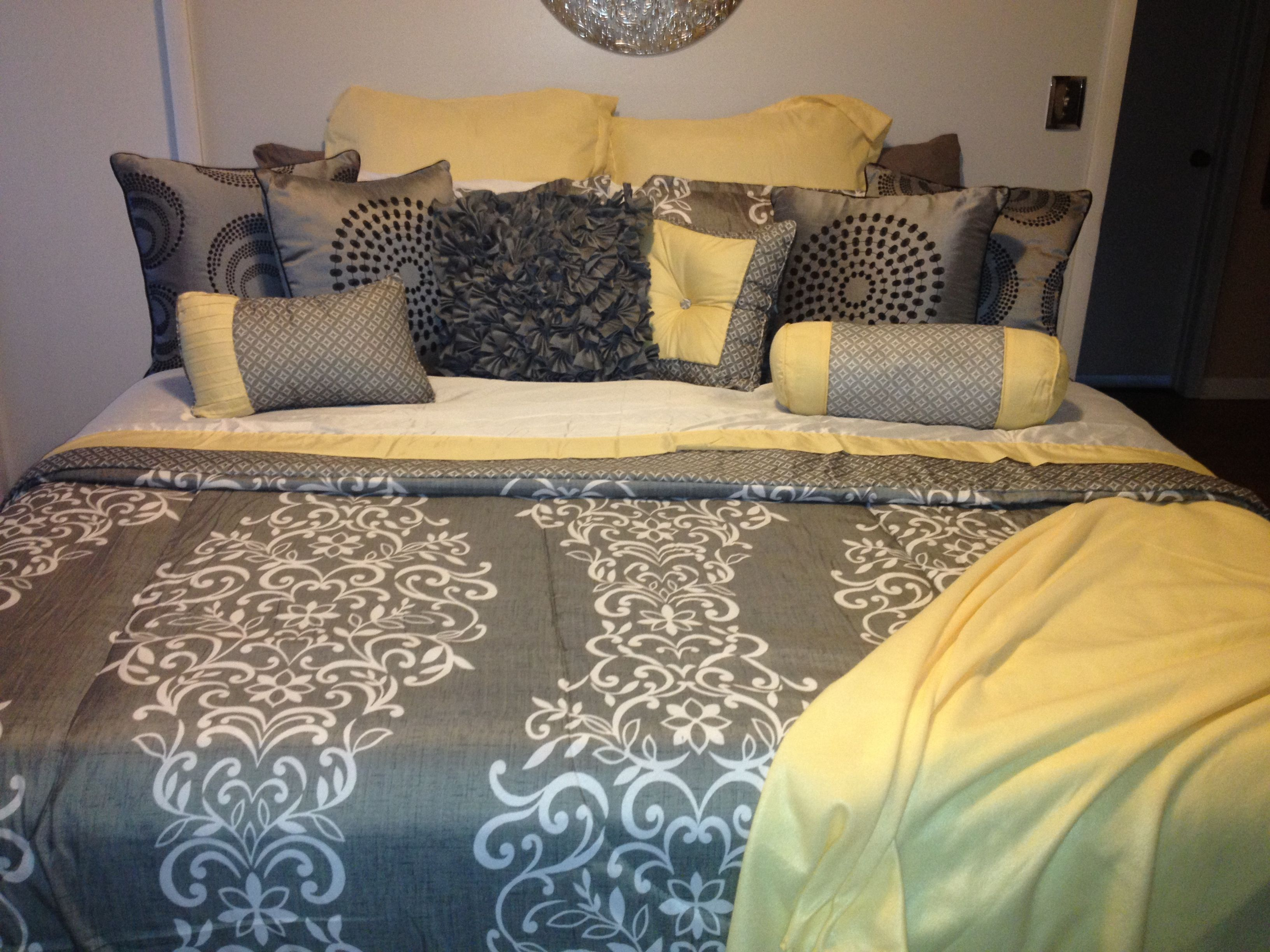 My yellow and gray bedding home pinterest gray for Grey and yellow bedroom