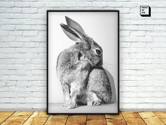 #Rabbit #print #bunny #print #woodland #animal woodland by PrintmyInk