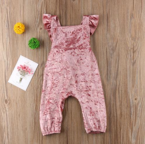 db0757e7f6c4 Pink Velvet Ruffles Jumpsuit. CUte velvet overalls.