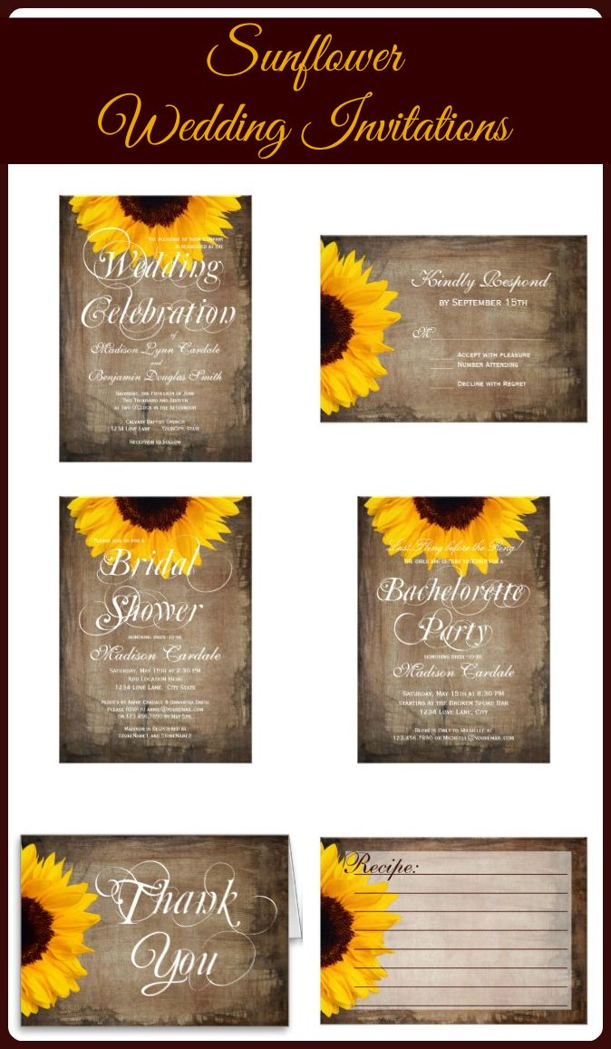 Sunflower Wedding Invitations on rustic brown distressed background.  Perfect for a country wedding. www.zazzle.com/...