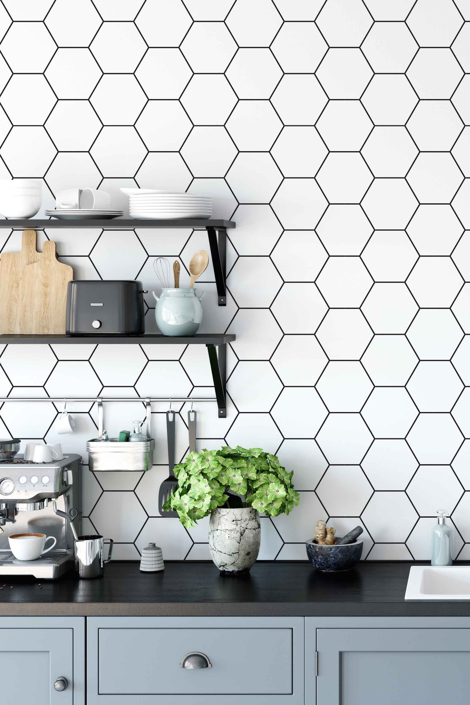 Peel And Stick Wallpaper With Honeycomb Pattern Black And White Print Wall Decal Minimal Patter Wallpaper Backsplash Kitchen Kitchen Wallpaper Honeycomb Tile