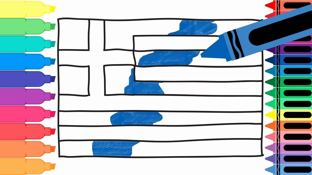 Greek Flag Coloring Pages Lovely How To Draw Greece Flag Drawing The Greek Flag Flag Coloring Pages Greek Flag Blog Colors