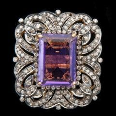 14k Gold, Sterling Silver, Diamond And Amethyst Ring