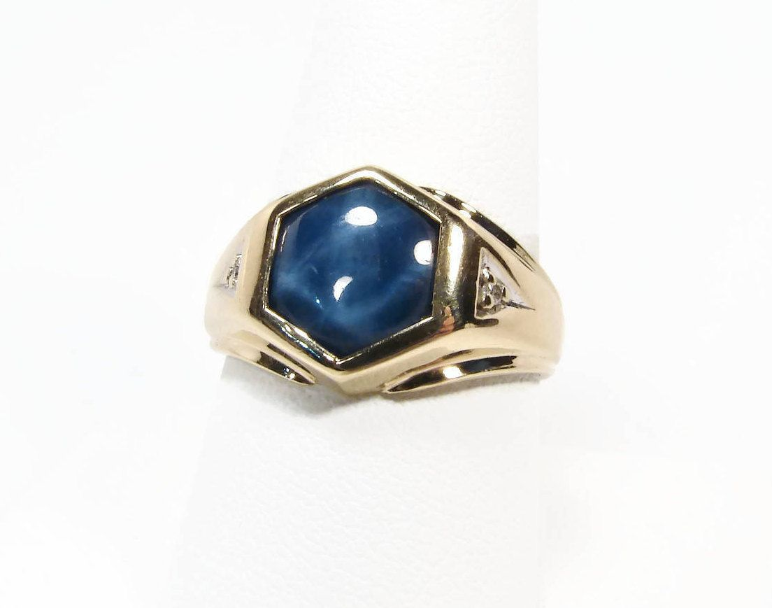 10k Gold Star Sapphire Ring Lindy Star Size 9 Mens Ring Sapphire Diamond Ring Estate Jewelry Blue Star Sapphire Ring Star Sapphire Ring Blue Star Sapphire