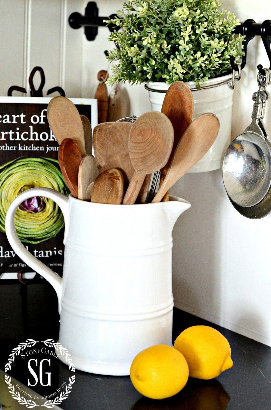 farmhouse style white pitchers kitchen decor country kitchen farmhouse style on farmhouse kitchen utensils id=81898