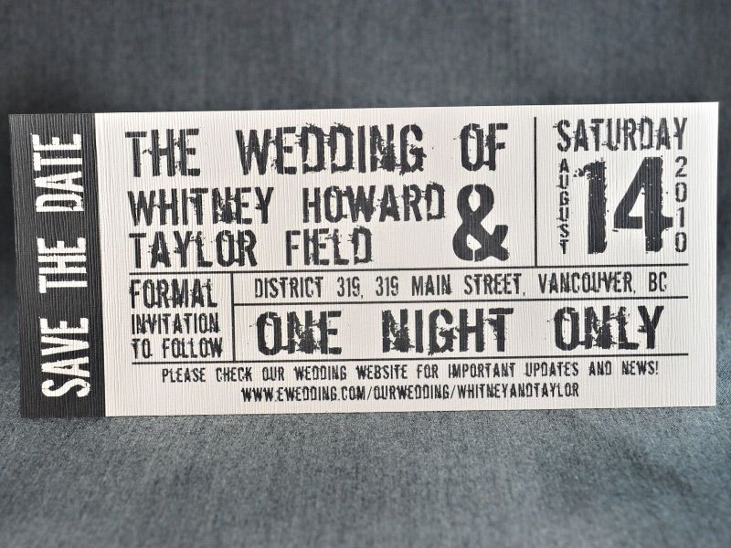 concert ticket save the date\/invite nice! wedding ideas - invitations that look like concert tickets