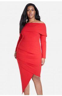 Avery Off Shoulder Asymmetric Dress