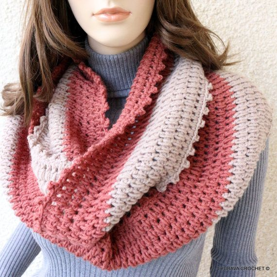 Crochet Scarf PATTERN, Infinity Scarf Two Colors, Circle Scarf, DIY ...