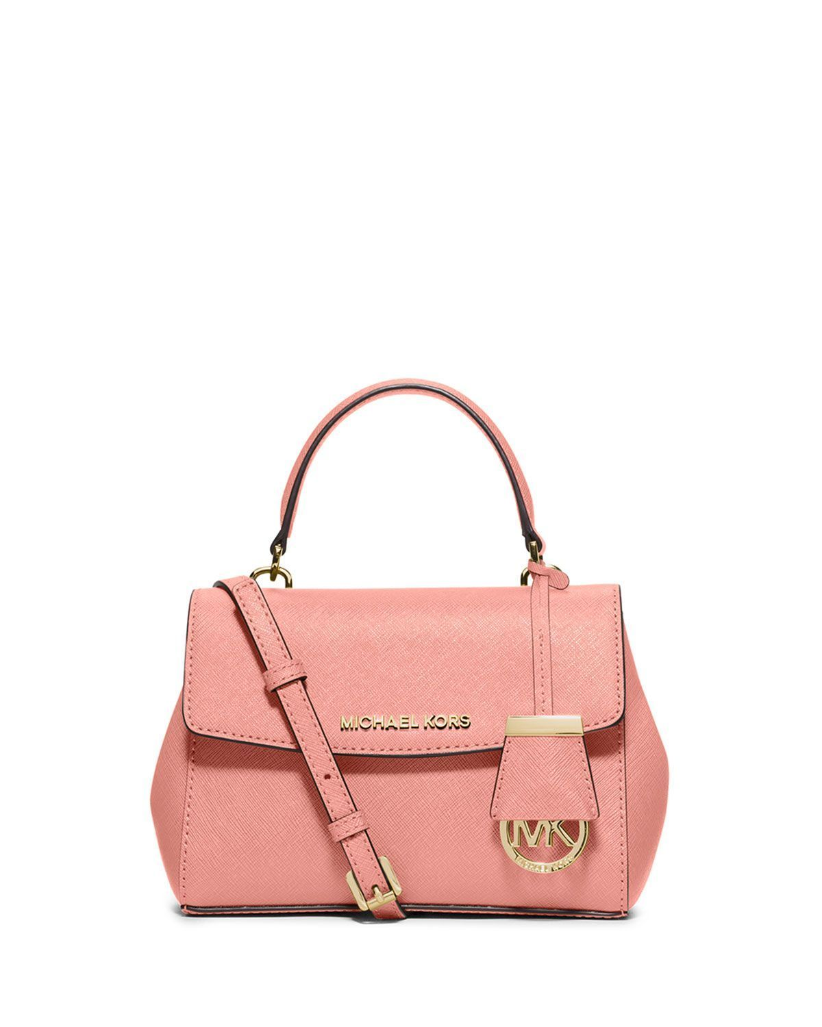 ea78c3a8f9ca MICHAEL Michael Kors Ava Extra-Small Saffiano Leather Satchel Bag, Pale Pink  #palepinkmichaelkorsbag