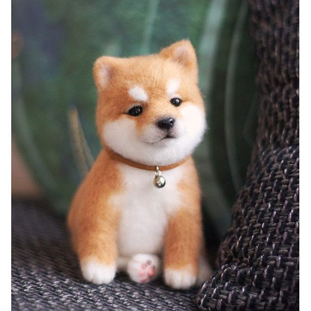 Cute Needle felted wool animals dog (Via @grey_i_scream)