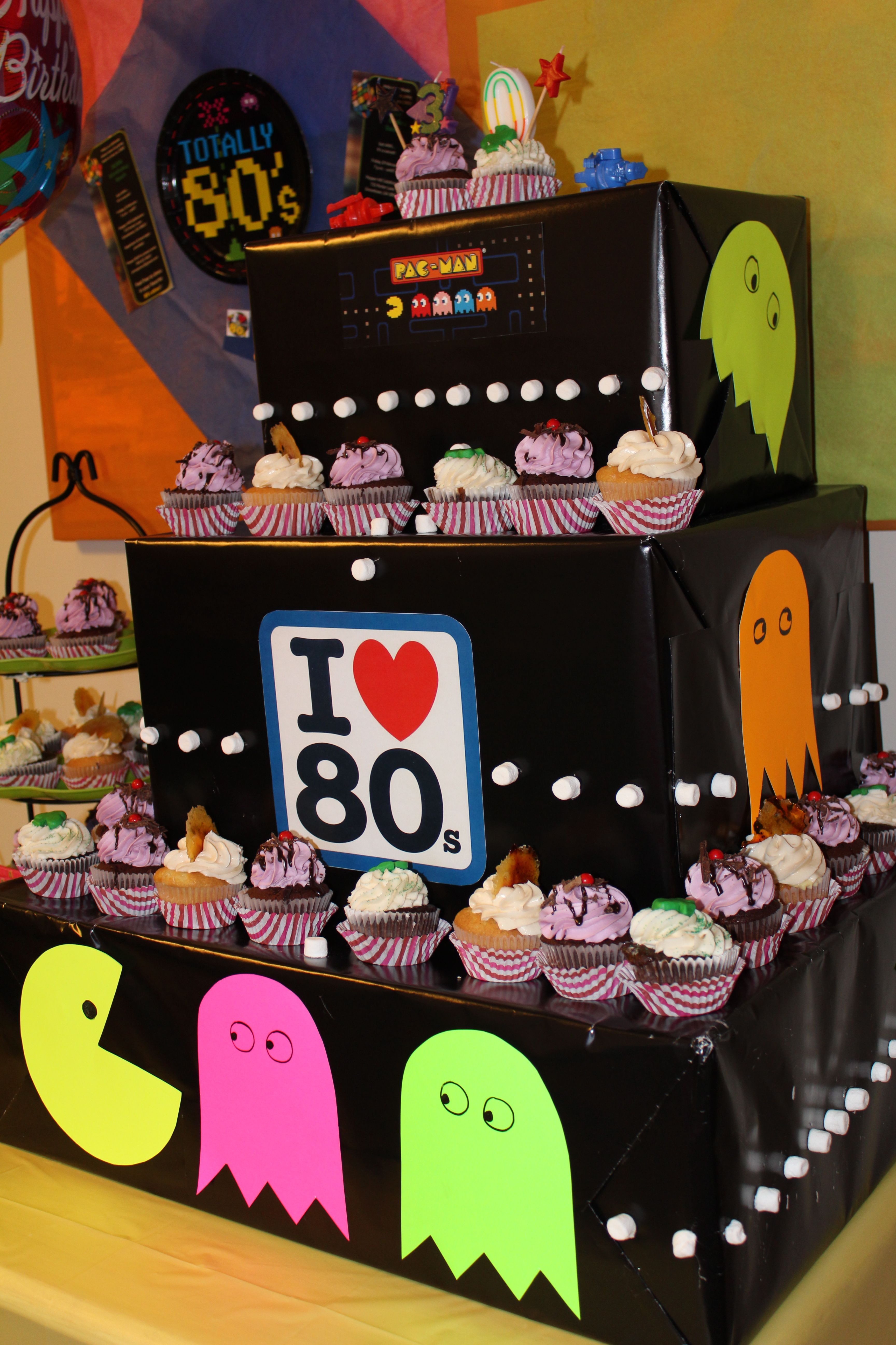 80s themed cupcake tower pac man 80 39 s decade party for 80 theme party decoration ideas
