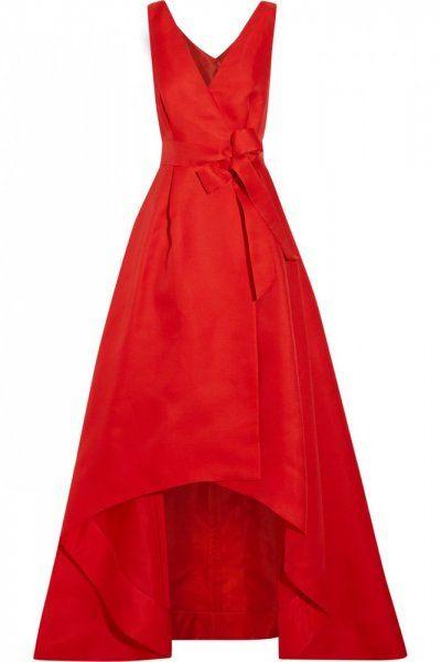 فستان خطوبة احمر من الحرير من اوسكار دي لارنتا Red Dress Short Long Red Evening Dress Long Red Dress