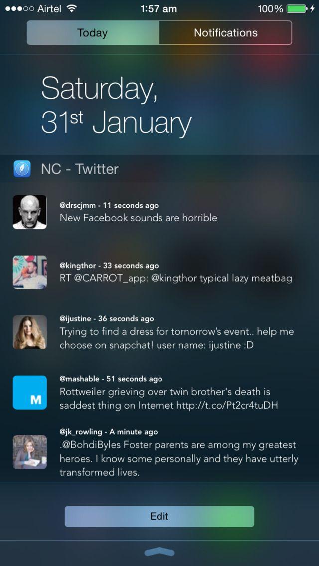 iPhone App NC Twitter Widget for Notification Center