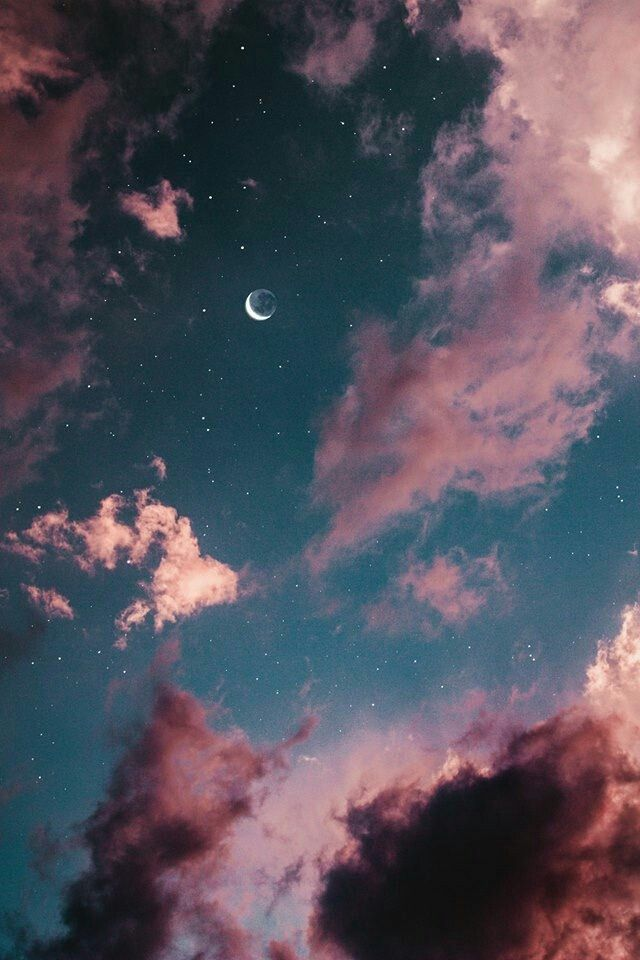 Floating There In The Sky A Block Of Clouds To Accompany Stars And The Moon Moon And Stars Wallpaper Night Sky Wallpaper Moon Photography Clouds and stars aesthetic wallpaper