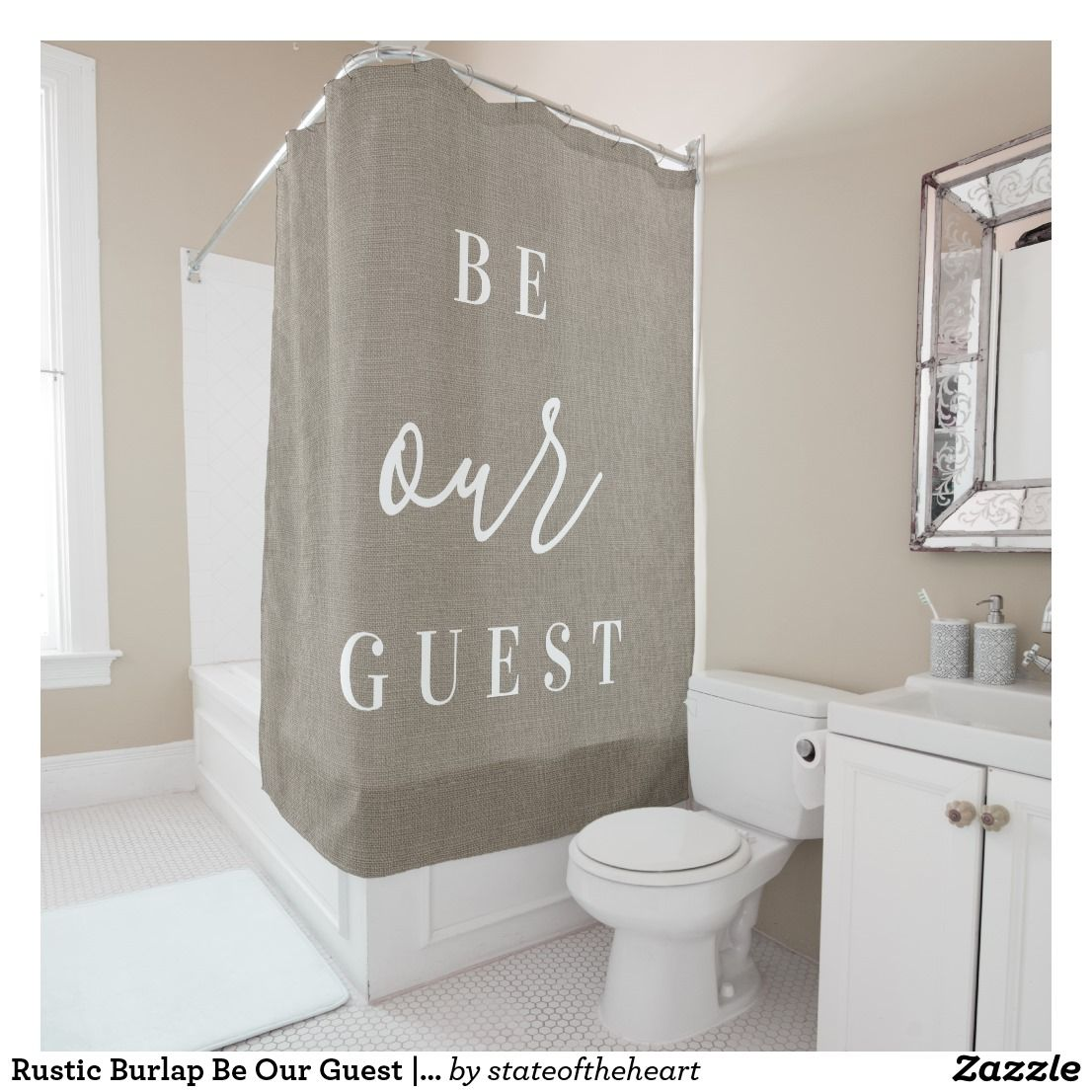 Rustic Burlap Be Our Guest Farmhouse Bathroom Shower Curtain