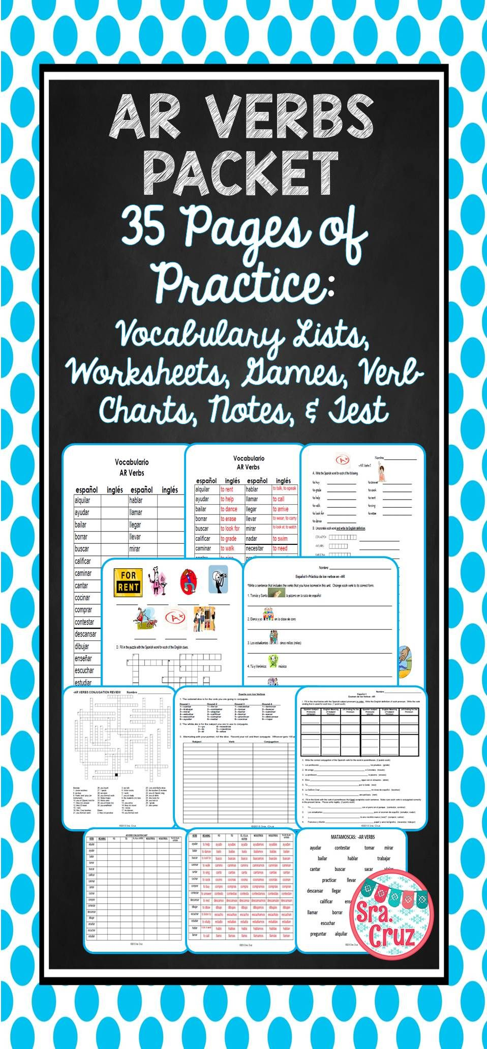 Ar Verbs Packet This 35 Page Editable Word Document Has Everything Your Students Need To Practice The Definitions And Conjugation Verb Chart Spanish Verbs Verb
