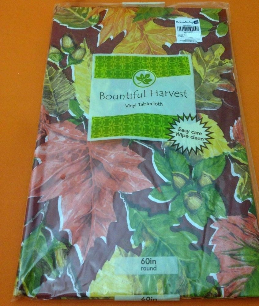 Autumn Leaves Fall Thanksgiving Vinyl Tablecloth Flannel Backing 60 Inch  Round14 #BountifulHarvest #autumn #