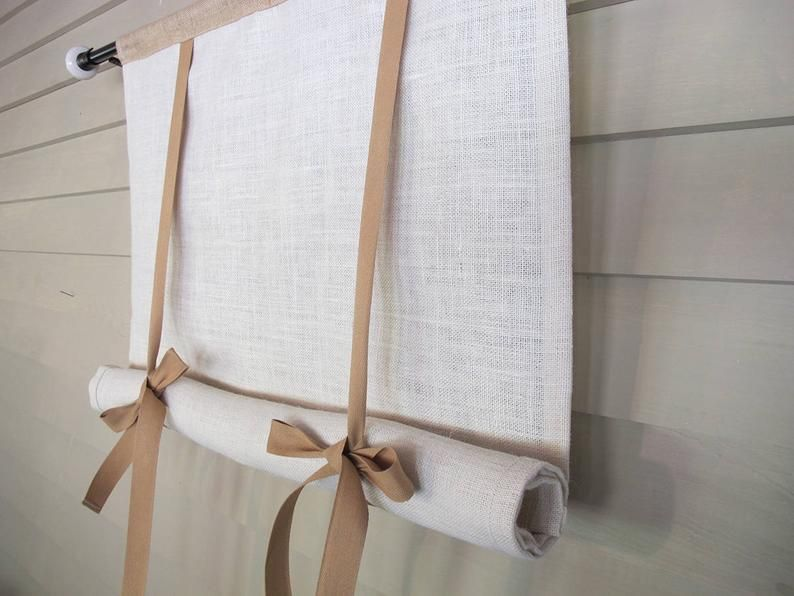 Mix Natural Burlap 48 Inch Long Swedish Roll Up Window