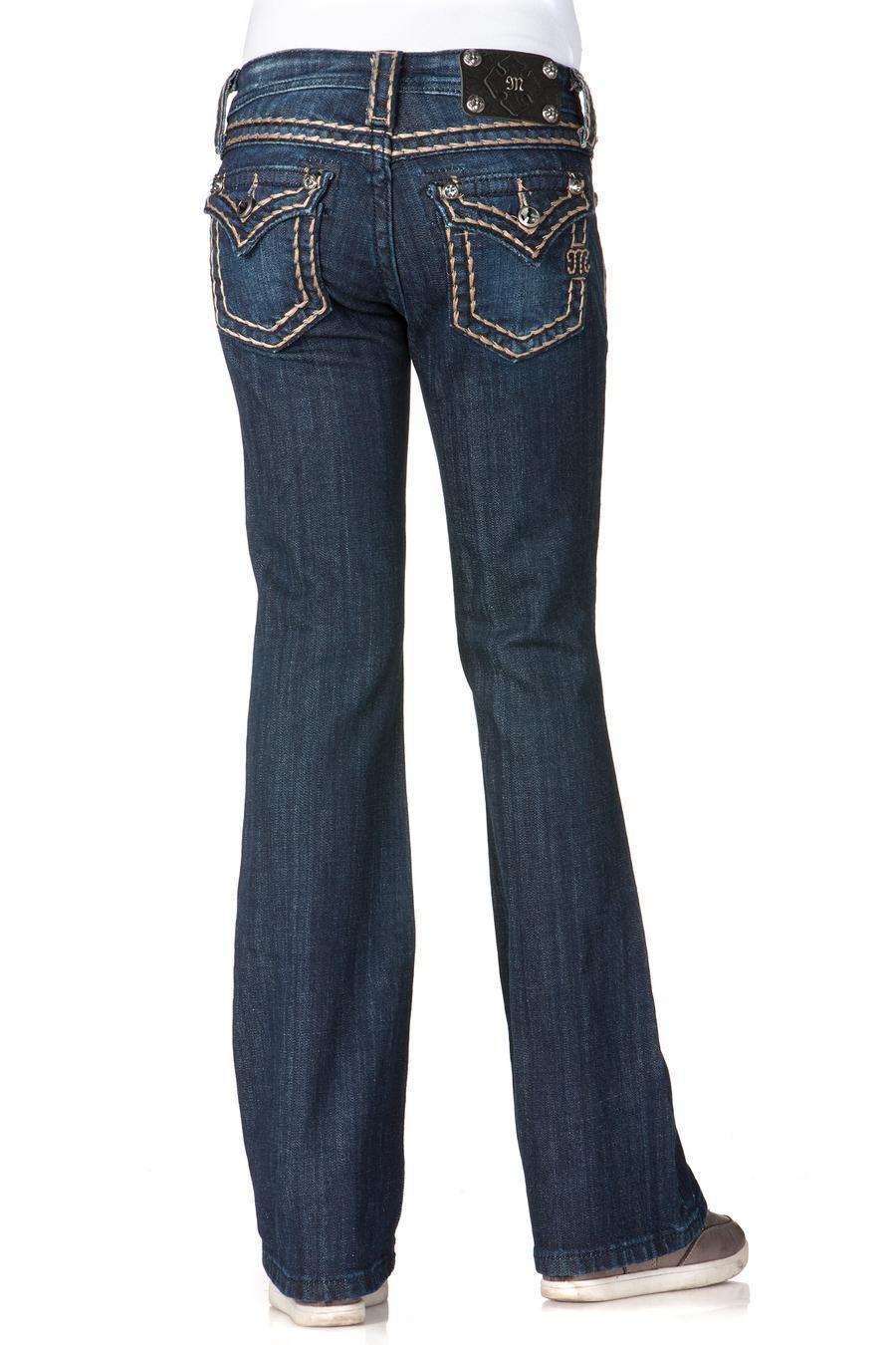 Girls Saddle Stitch Border Boot Cut Jeans by missme