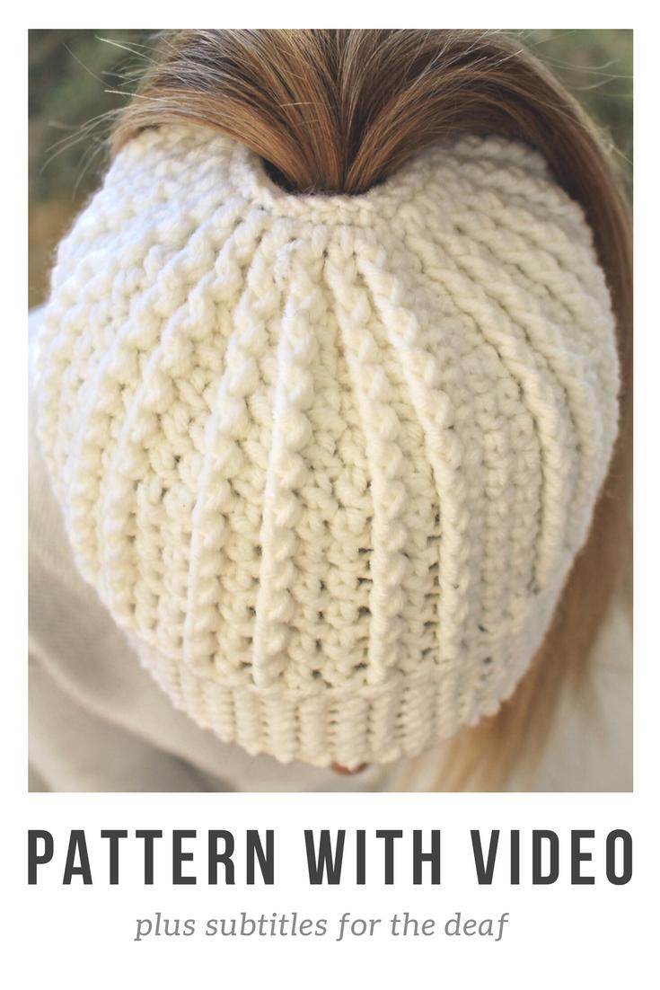Messy Bun Beanie pattern by Jessica Venture