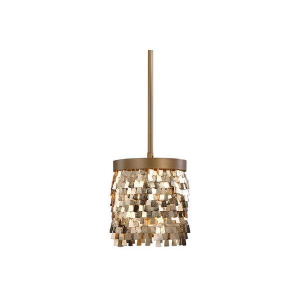 Uttermost Tillie Gold One-Light Mini Pendant (1,230 CNY) ❤ liked on Polyvore featuring home, lighting, ceiling lights, uttermost lamps, mini shade, miniature lamps, uttermost light and mini shades
