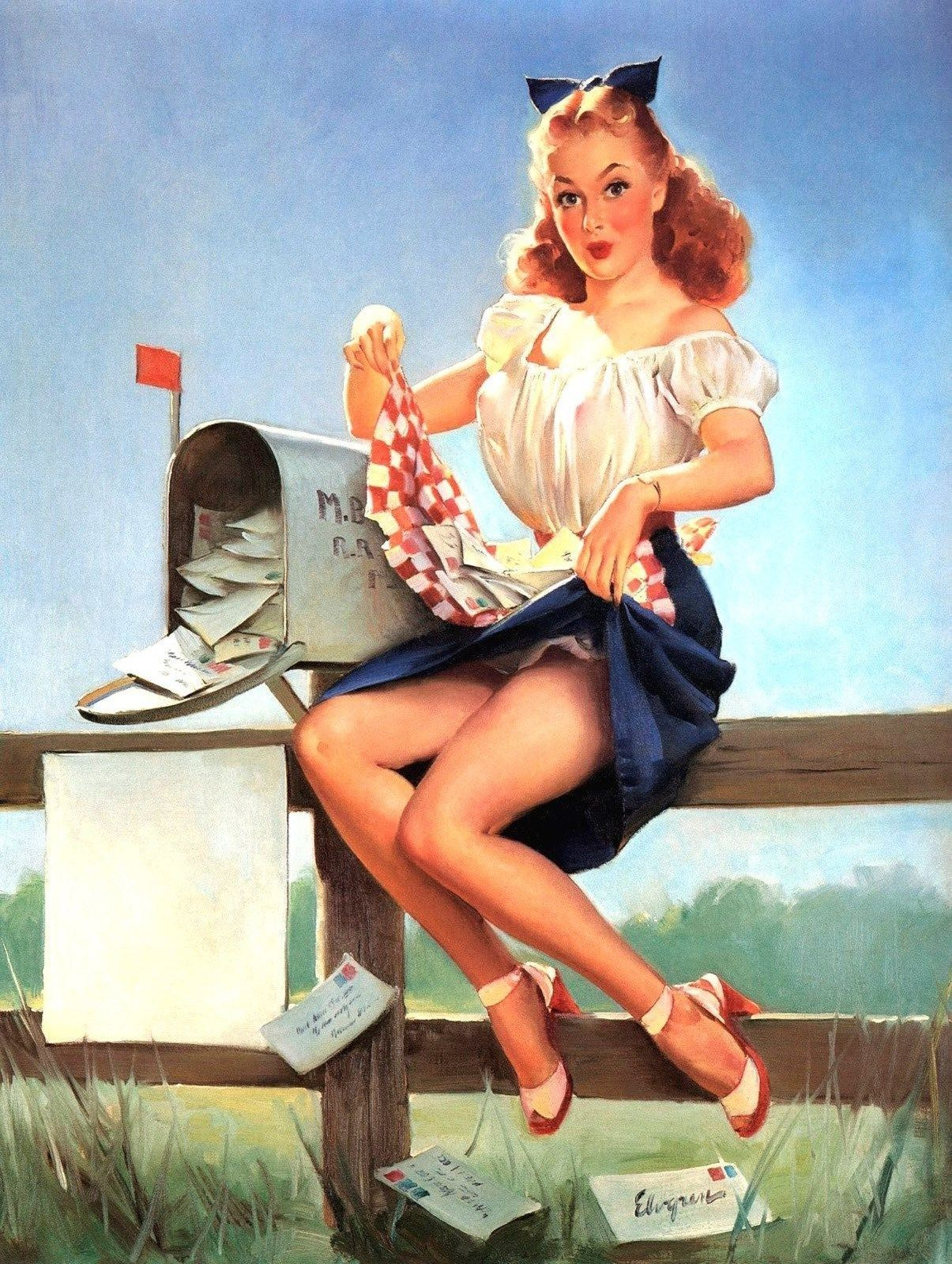 Pinup girl sweeping cleaning