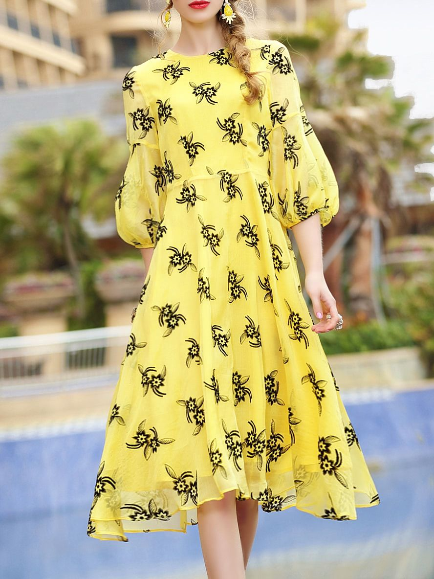 Yellow dress knee length  Buy it now Flowers Print Belted ALine Dress Yellow Round Neck