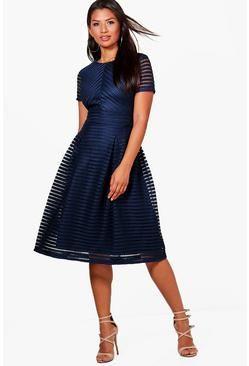 e7a817f60ca Zaira Boutique Full Skirted Prom Midi Dress Navy Midi Dress