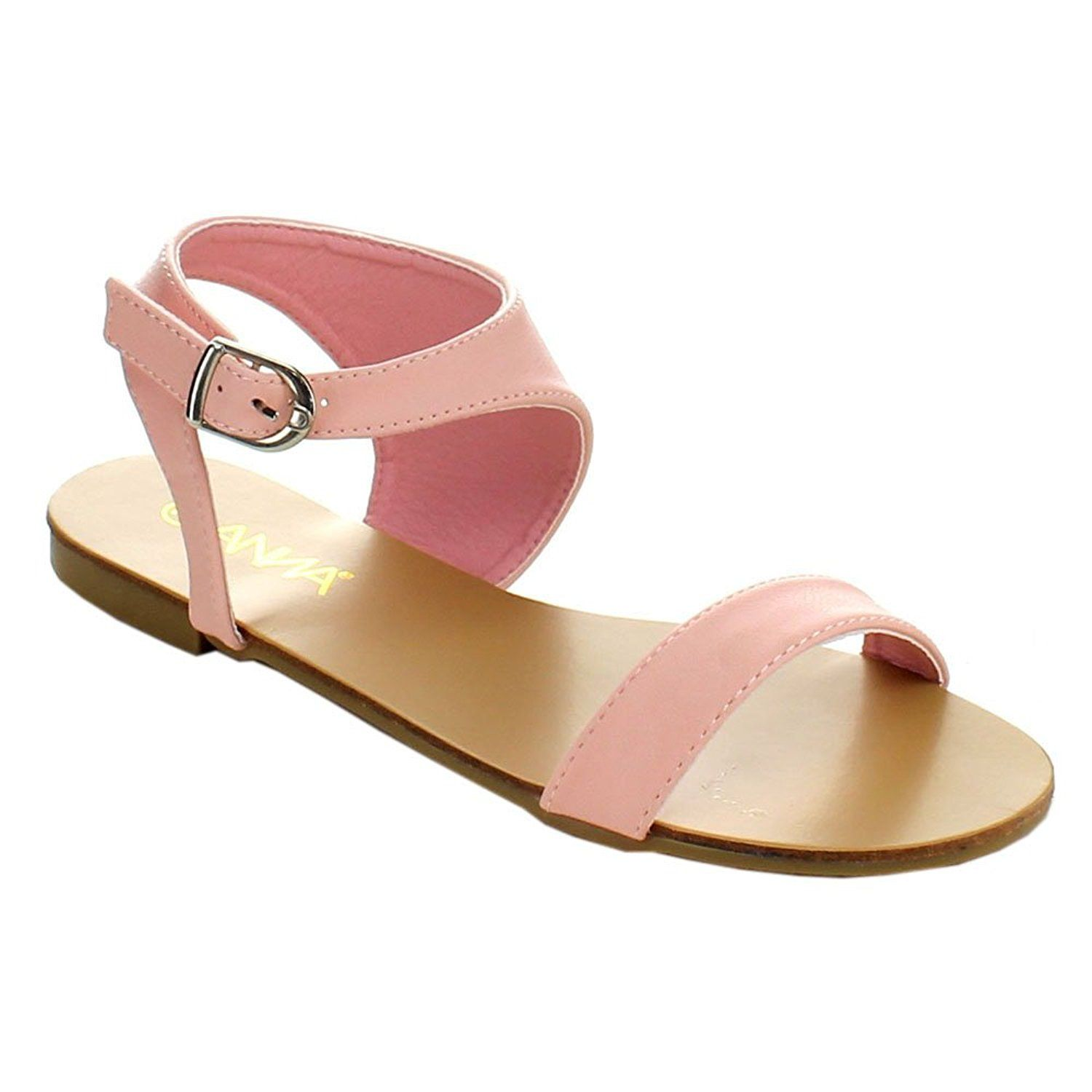 Flat heel sandals images - Anna Covina 1 Womens Stylish Round Toe Ankle Strap Flat Heel Sandals Pink