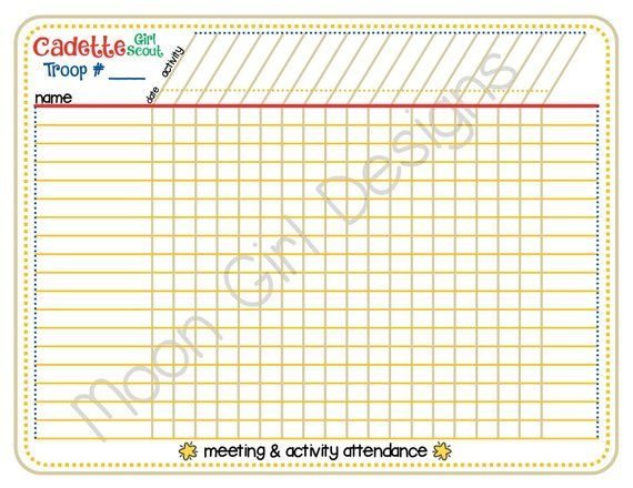 cadette girl scout meeting activity attendance tracker blank sign in