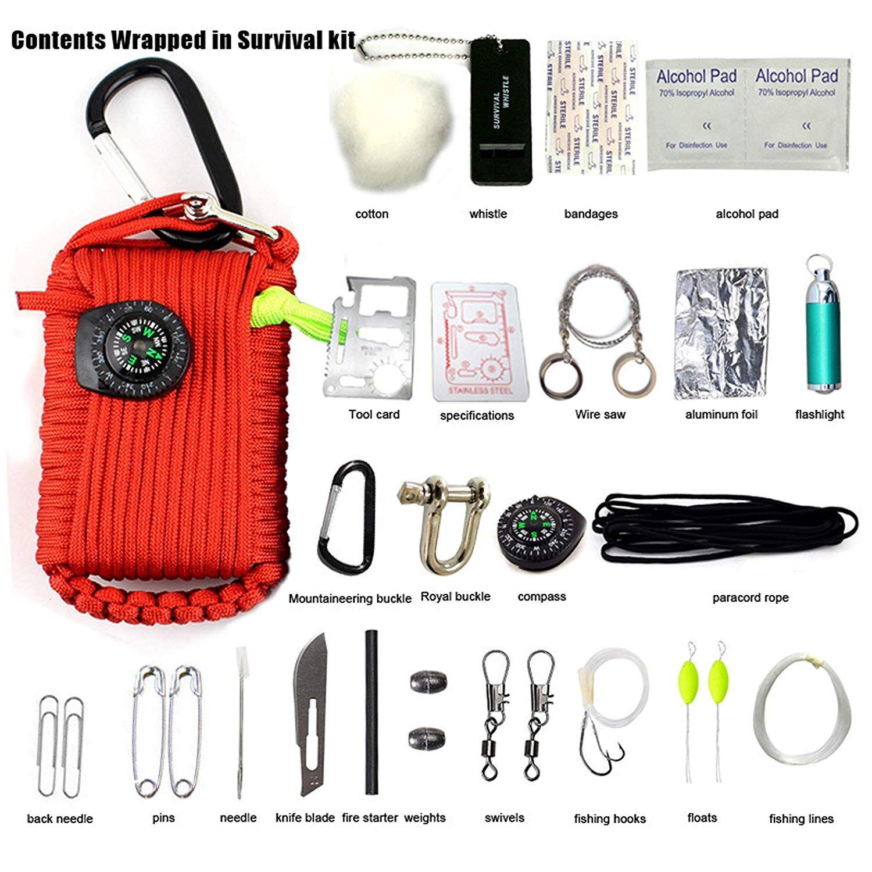 Micogo 29pcs Paracord Emergency Survival Kit First Aid Kit Amp